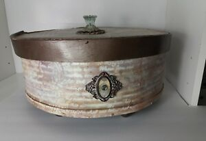 Vintage Large Round Wood Cheese Box Sewing Box Hand Painted Shabby Chic