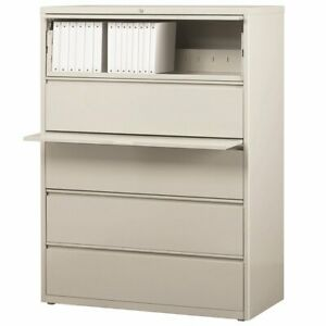 Hirsh Hl8000 Series 42 5 Drawer Lateral File Cabinet In Light Gray