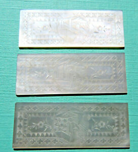 3 Large Pearl Antique Sewing Thread Winders Engraved Figure Scene
