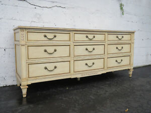 French Carved Distressed Painted Long Dresser Tv Media Console By Kindel 9062