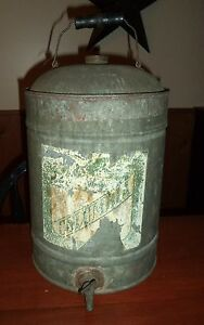 Antique Columbia Mining Camping Primitive Metal Water Cooler W Label Prop Clean