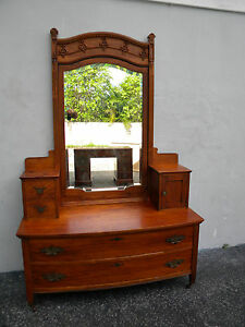 Victorian Early 1900s Tall Carved Vanity Dresser With Mirror 5854