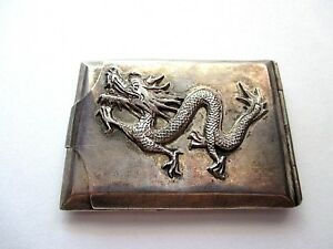 Rare Chinese Japanese Sterling Silver Dragon Vesta Case Match Safe
