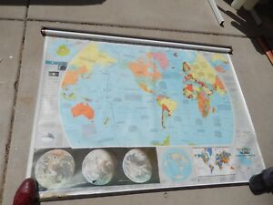 Heritage Maps Inc Classroom School Wall Pull Down World Map 68 X 50