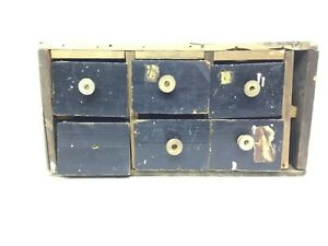 Primitive Multi Drawer Wood Cabinet 6cheese Box Drawers W Spool Knobs Rickety