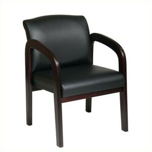 Scranton Co Faux Leather Visitor Guest Chair In Mahogany And Black