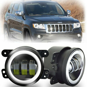 For Jeep Grand Cherokee 2011 2013 Front Bumper 2pcs 4 Inch Led Halo Fog Light