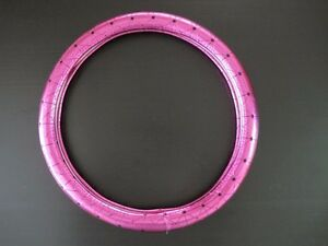 38cm Chrome Laser Bright Pink Leather Vehicle Car Steering Wheel Cover
