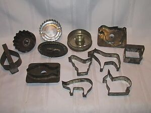 Large Lot Of 12 Antique Metal Cookie Cutters Primitive Flat Back Strap Handle