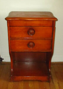 Antique Vintage Wood Sewing Cabinet W 2 Dovetail Drawers Button