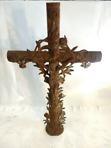 Antique 4ft French Cast Iron Christian Garden Statue Crucifix Cemetery Marker