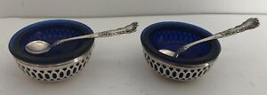 2 Webster Sterling Silver Blue Cobalt Glass Salt Cellar W Tiny Salt Spoons