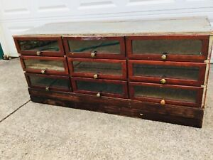 Antique Mercantile Display Cabinet W 9 Glass Front Drawers Surface Clean Sealed