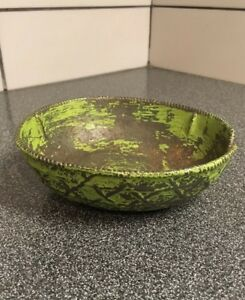 Early Antique Cast Iron Green Painted Decorative Bowl 6x5 1 2x2 Old