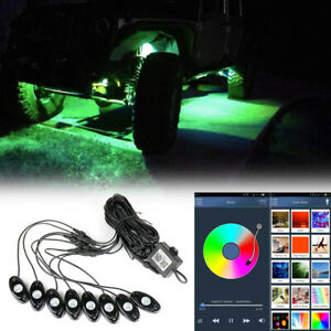 8x Rgb Led Rock Lights Wireless Bluetooth Music Flashing Multi Color Offroad Car