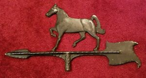 Vintage Weathervane Top With Horse Arrow Cast Aluminum Galloping Race Stallion