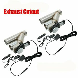 2x 3 Electric Exhaust Catback Downpipe Cutout Valve System W Switch Control Kit