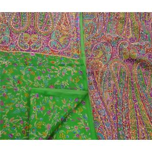 Sanskriti Antique Vintage Indian Saree 100 Pure Silk Hand Beaded Fabric Premium