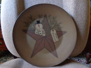 Country Primitive Rustic Tan Snowman Wood Decor Plate W Stand 11 1 2