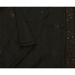 Sanskriti Vintage Saree Pure Silk Hand Beaded Black Fabric Premium 5 Yd Sari