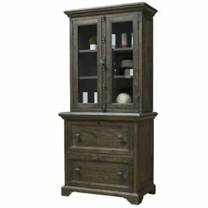 Beaumont Lane 2 Drawer Lateral File With Hutch In Weathered Peppercorn