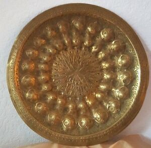 Persian Antique Brass Plate Hand Engraved 11 5 Wide