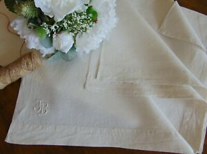 Antique High Class Linen Bed Sheet Dowry 1920 S Monogram Jb Unused 230x149 Cm