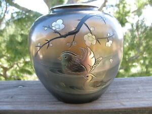 Vintage Meiji Chokin Mixed Metals Vase With Birds And Cherry Blossoms Signed