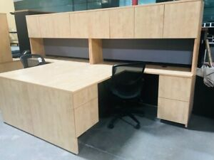 Maple L shape Desk With Hutch