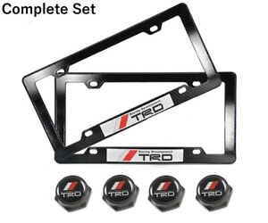 X2 Trd Racing Sticker W Carbon Look Abs License Plate Frame Screw Bolt Cap Set