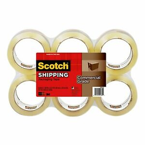 Scotch Commercial Grade Shipping Packaging Tape 1 88 In X 54 6 Yd 6 pack Clear