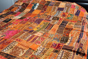 Beaded Bedcover Vintage Indian Sari Embroider Bedspread 80 X78 Or Tapestry