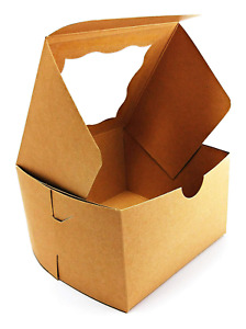 50pack Bakery Box With Window On Top Brown 4x4x2 5 Inch For Cookies
