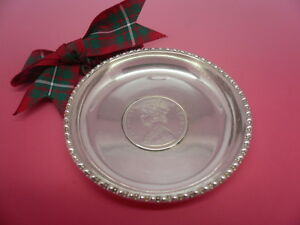 Silver Coin Dish Solid Antique 1891 Indian Rupee India Queen Victoria