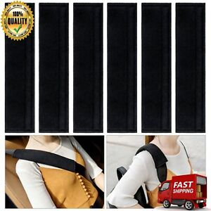 Car Seat Belt Covers Soft Sheepskin Shoulder Strap Pad For Adults 6 Pcs Black
