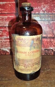 Antique Balsam Colpaiba Charles Fischback Apothecary Pharmacy Cure Bottle W Cont