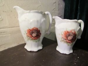 2 Antique Art Nouveau Pitchers With Girl In Flower