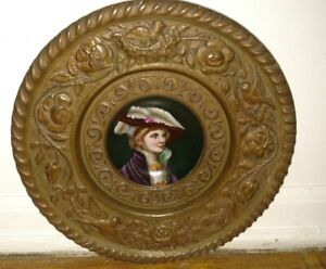 Antique Porcelain Plate Woman Portrait In Brass 10 Wall Hanging Plaque