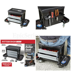 Mechanic s Roller Seat W Built In 3 Drawers Compartment Tool Storage Foam Seat
