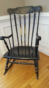 Antique Tell City Black Lacquer Hand Painted Rocker Rocking Chair