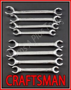 Craftsman Hand Tools 8pc Lot Full Polish Flare Nut Sae Metric Mm Wrench Set