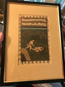 Antique Persian Middle East Hand Painted Illuminated Book Page Muslim Hunt Art