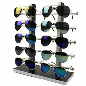 Sunglass Wood Glass Rack Frame Glasses Display Stand Holder Organizer Black