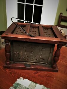 Antique 1800 S Punched Tin Footwarmer With Pierced Hearts On All Sides With Tray
