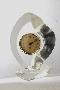 Van Teal Signed Sculpture Acrylic Mid Century Modern Working Clock 9 X 7
