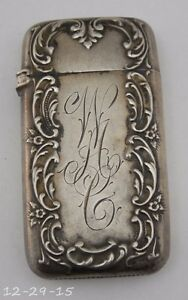 Antique Ornate Sterling Silver Match Safe Vesta Engraved Initials