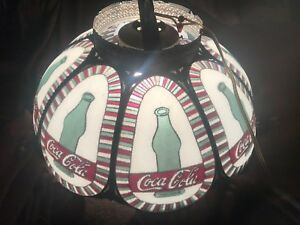 Rare Coca Cola Hanging Ceiling Swag Lamp Scalloped Shade Faux Stained Glass 18