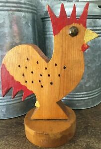 Primitive Folkart Antique Vtg Rooster Chicken 1977 Handcrafted French Country