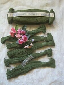 Vintage Green Barbour S Tiny Flax Carpet Thread Dolls Ribbon Work 5 Skeins