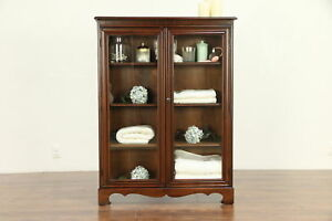 Traditional Antique Bookcase Or Bathroom Cabinet 2 Glass Doors 30399